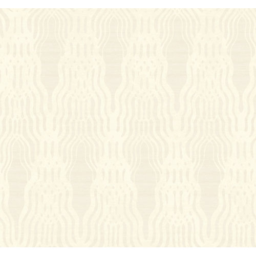 York Wallcoverings Artistry Silver White Geo Braid Wallpaper: Sample Swatch Only
