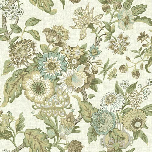 Waverly Global Chic Cream and Brown Graceful Garden Wallpaper: Sample Swatch Only