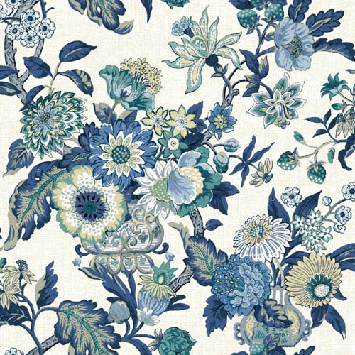Waverly Global Chic Cream and Blue Graceful Garden Wallpaper