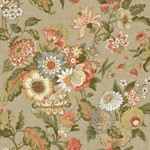 Waverly Global Chic Light Tan and Orange Graceful Garden Wallpaper