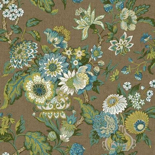 Waverly Global Chic Brown and Aqua Graceful Garden Wallpaper