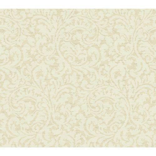 Waverly Global Chic Beige and Cream Namaste Scroll Wallpaper