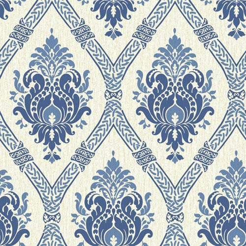 Waverly Global Chic White and Blue Dressed Up Damask Wallpaper: Sample Swatch Only