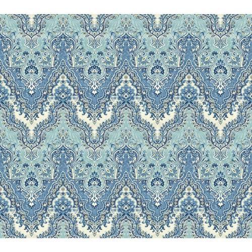 Waverly Global Chic Blue and White Palace Safari Wallpaper