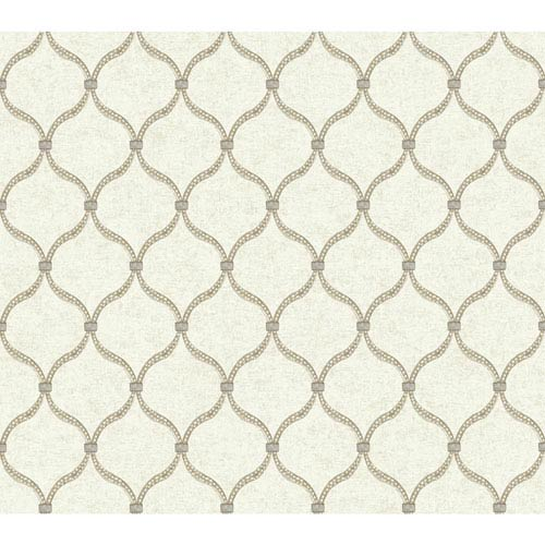 Waverly Global Chic Beige and Light Taupe Dot Trellis Wallpaper: Sample Swatch Only