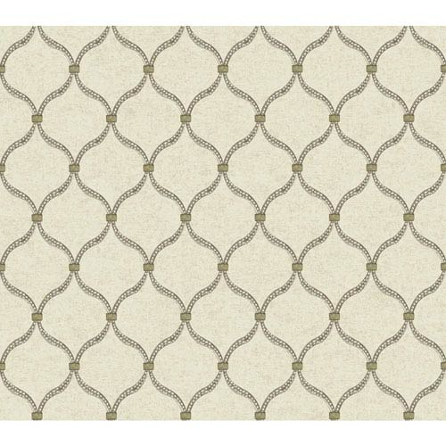 Waverly Global Chic Beige and Grey Dot Trellis Wallpaper: Sample Swatch Only