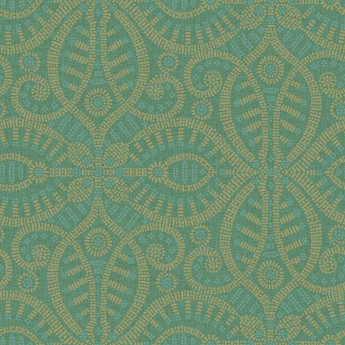 Waverly Global Chic Dark Green and Tan Belle of the Ball Wallpaper: Sample Swatch Only