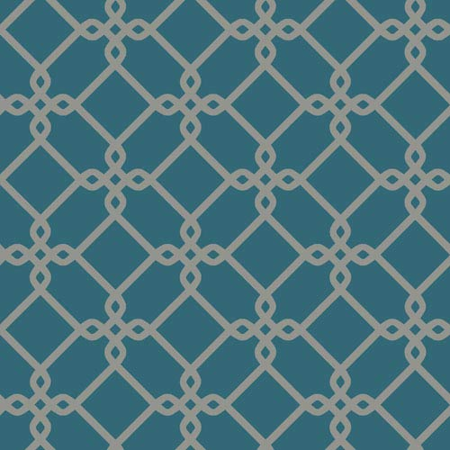 Ashford Geometrics Teal and Grey Threaded Links Wallpaper: Sample Swatch Only
