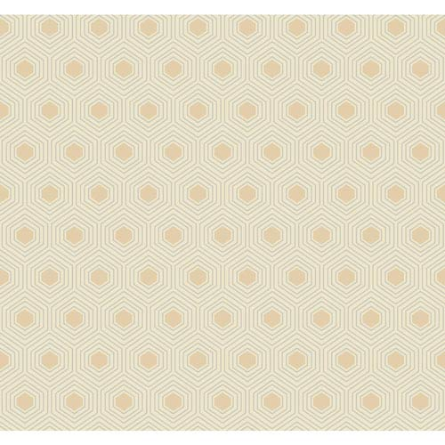 Ashford Geometrics Cream and Beige Honeycomb Wallpaper
