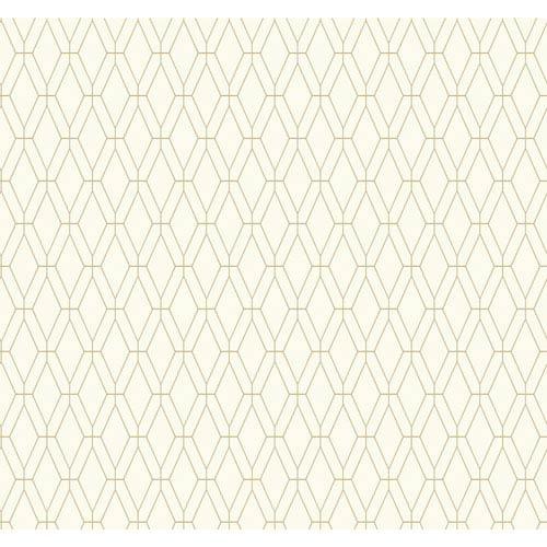 Ashford Geometrics White and Tan Diamond Lattice Wallpaper