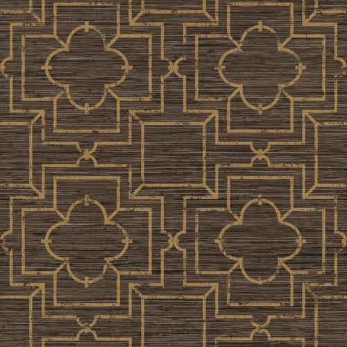 Ashford Geometrics Brown and Dull Gold Irongate Trellis Wallpaper