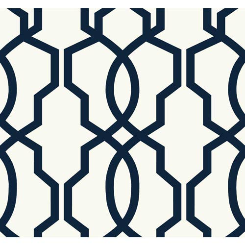 Ashford Geometrics Navy Blue and White Hourglass Trellis Wallpaper