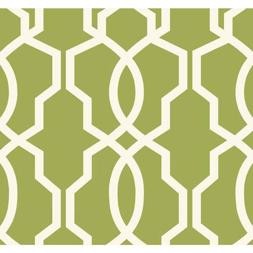Ashford Geometrics Green and White Hourglass Trellis Wallpaper: Sample Swatch Only