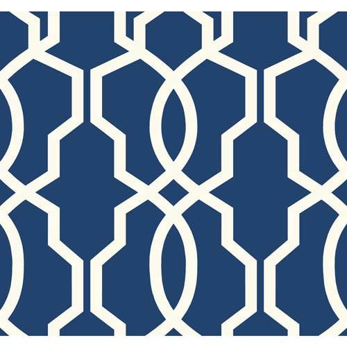 Ashford Geometrics Dark Blue and White Hourglass Trellis Wallpaper: Sample Swatch Only