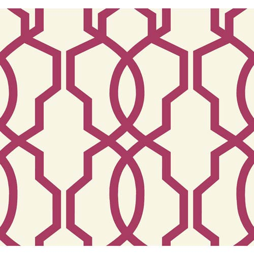 Ashford Geometrics Magenta and White Hourglass Trellis Wallpaper