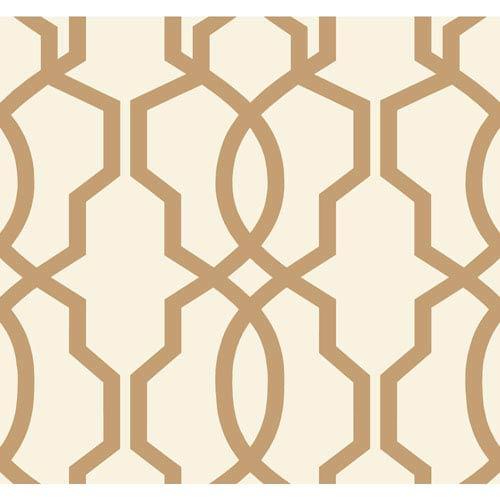 Ashford Geometrics Tan and Cream Hourglass Trellis Wallpaper