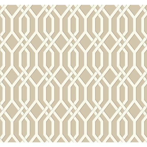 Ashford Geometrics Light Brown and White Garden Pergola Wallpaper