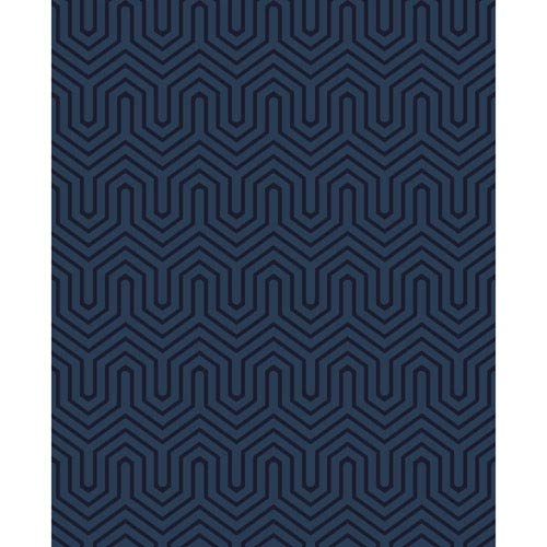 Ashford Geometrics Blue Pearl and Navy Blue Labyrinth Wallpaper: Sample Swatch Only