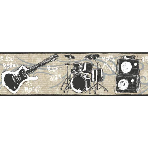 York Wallcoverings Growing Up Kids Jam Session Removable Wallpaper Border- Sample Swatch Only