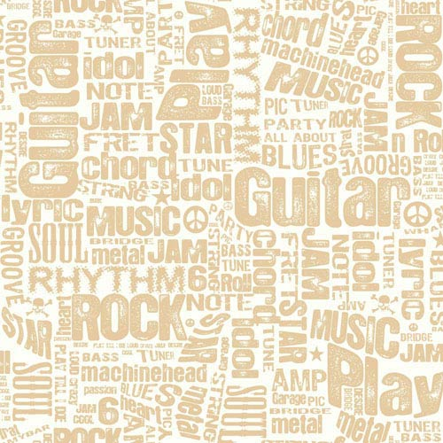 York Wallcoverings Growing Up Kids Rocker Text Sidewall Removable Wallpaper- Sample Swatch Only