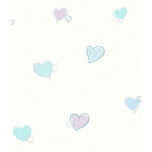 York Wallcoverings Growing Up Kids Colorful Hearts Removable Wallpaper- Sample Swatch Only