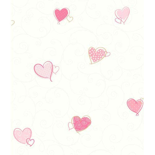 Growing Up Kids Colorful Hearts Removable Wallpaper- Sample Swatch Only