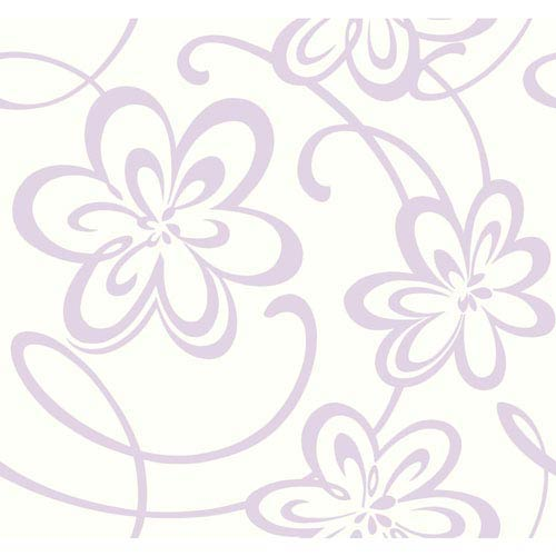 York Wallcoverings Growing Up Kids Large Floral W/Scrolls Removable Wallpaper- Sample Swatch Only