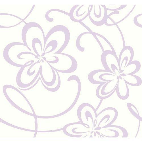 York Wallcoverings Growing Up Kids Large Floral W Scrolls Removable Wallpaper Gk8920 Bellacor