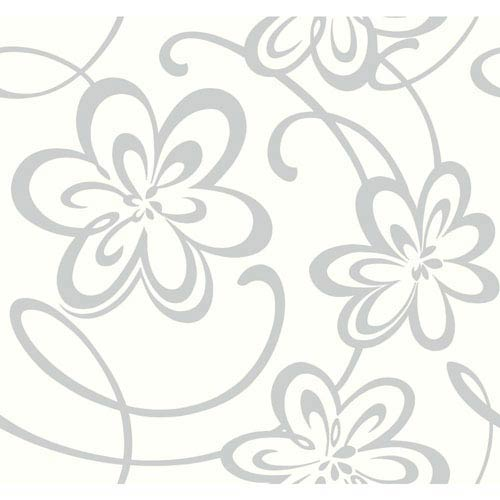 York Wallcoverings Growing Up Kids Large Floral W/Scrolls Removable Wallpaper