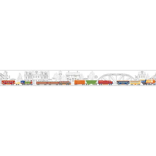 York Wallcoverings Growing Up Kids All Aboard! Removable Wallpaper Border- Sample Swatch Only