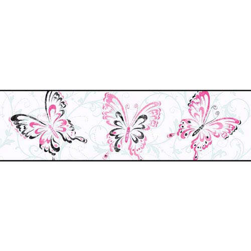 Growing Up Kids Butterfly/Scroll Removable Wallpaper Border- Sample Swatch Only