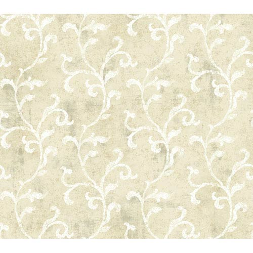 York Wallcoverings Brandywine Textured Scroll Wallpaper: Sample Swatch Only