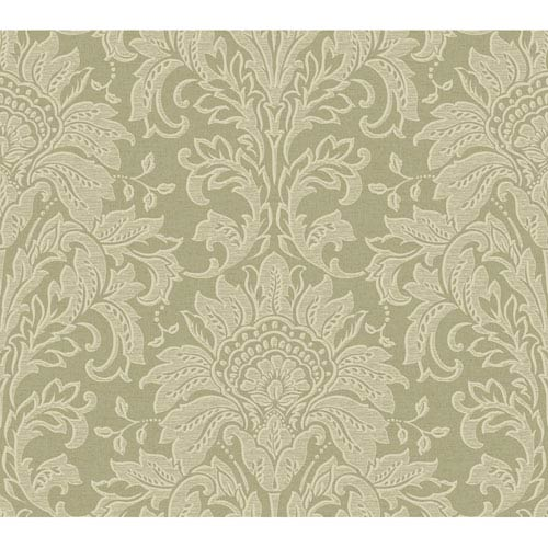 York Wallcoverings Brandywine Damask Wallpaper: Sample Swatch Only
