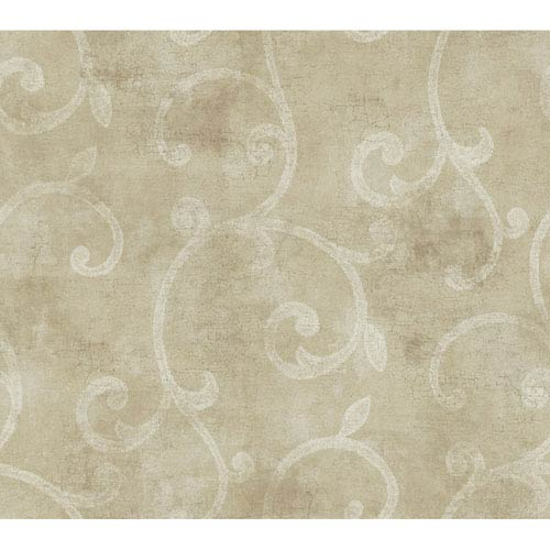 York Wallcoverings Brandywine Scroll Wallpaper: Sample Swatch Only