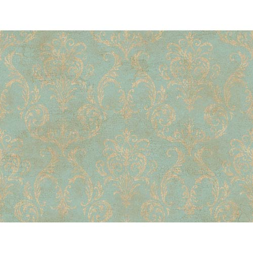 York Wallcoverings Brandywine Delia Damask Wallpaper: Sample Swatch Only