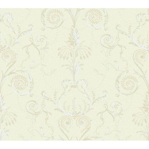 York Wallcoverings Brandywine Neoclassic Damask Wallpaper: Sample Swatch Only
