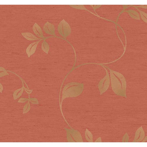 York Wallcoverings Inspired by Color Coral and Gold Wallpaper: Sample Swatch Only