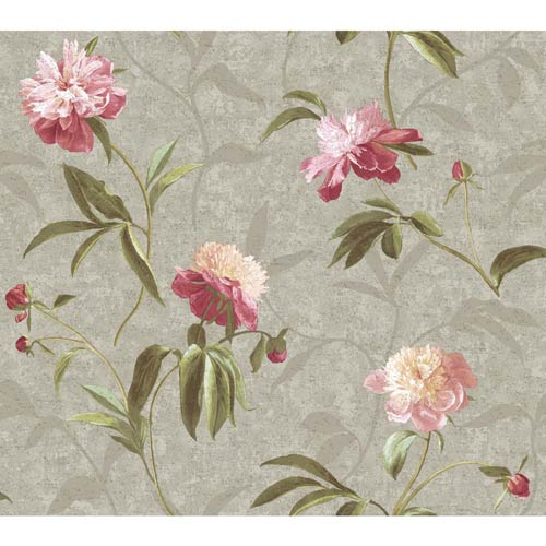 Inspired by Color Silver and Peony Pink Wallpaper