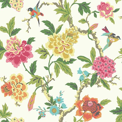 York Wallcoverings Waverly Garden Party Multicolor Floral Wallpaper ...