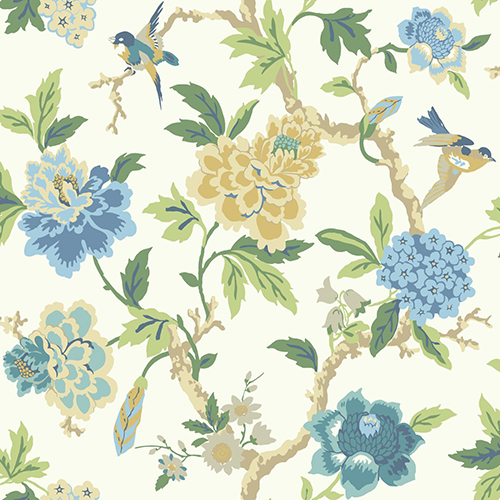 Waverly Garden Party White and Blue Floral Wallpaper