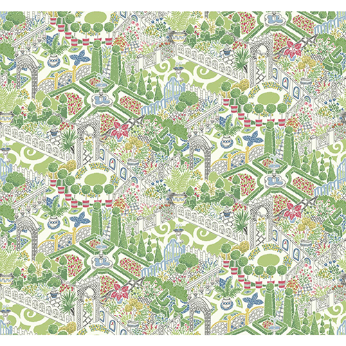 Waverly Garden Party Green Wallpaper - SAMPLE SWATCH ONLY