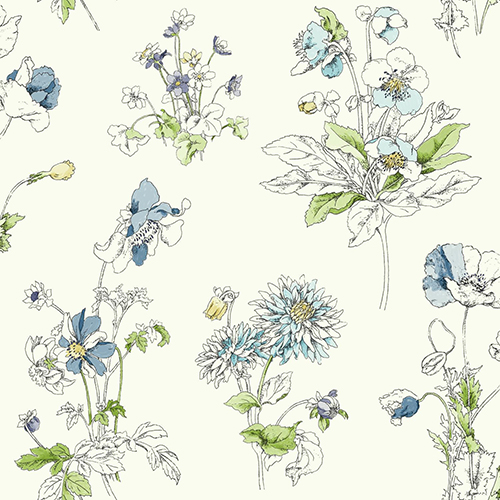 York Wallcoverings Waverly Garden Party Blue Floral Wallpaper