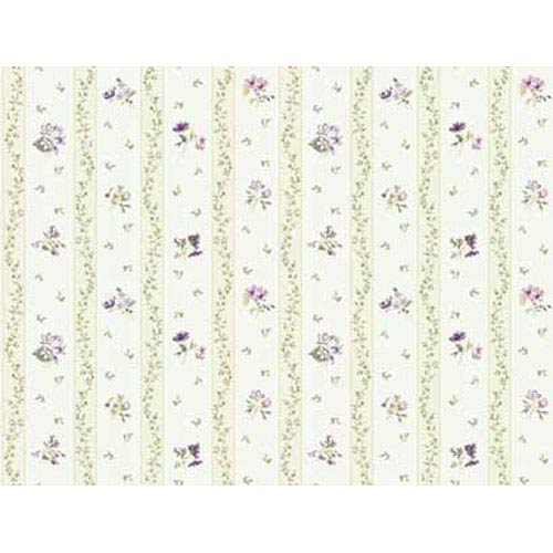 Keepsake Floral Toss Stripe Wallpaper: Sample Swatch Only