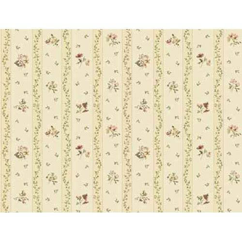 Keepsake Floral Toss Stripe Wallpaper: Sample Swatch Only