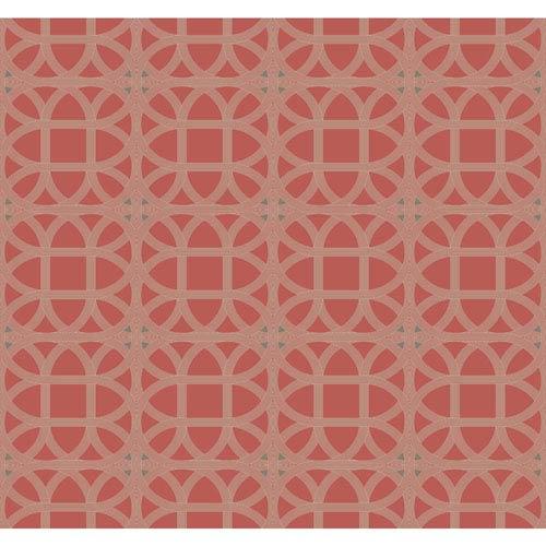 York Wallcoverings Williamsburg III Lamerie Lattice Red Removable Wallpaper