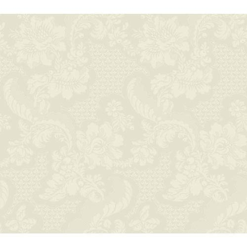 York Wallcoverings Williamsburg III Tazewell Damask White and Off White Removable Wallpaper