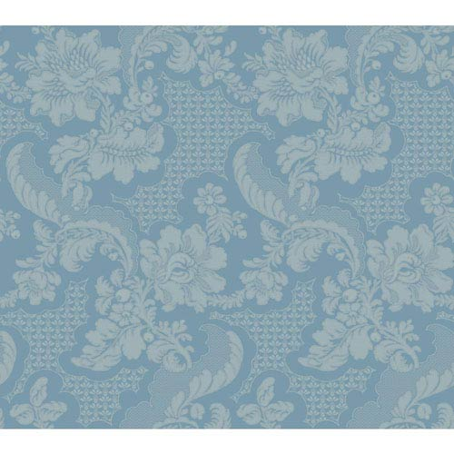 York Wallcoverings Williamsburg III Tazewell Damask Blue Removable Wallpaper-SAMPLE SWATCH ONLY