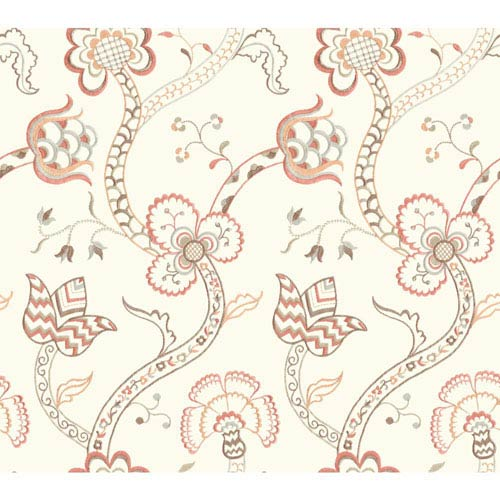 York Wallcoverings Williamsburg III Gainsborough Orange Removable Wallpaper-SAMPLE SWATCH ONLY