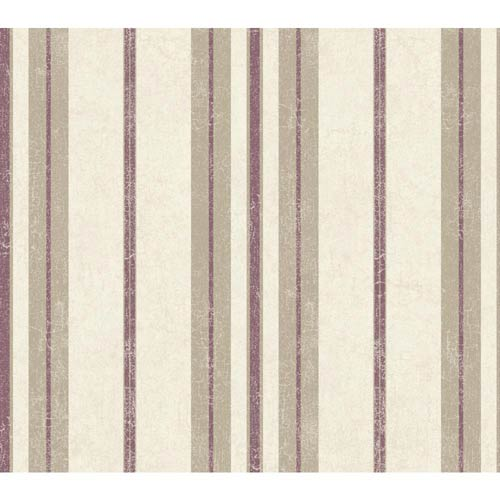 York Wallcoverings Passport Grape Purple, Dark Taupe and Egg White Wallpaper: Sample Swatch Only