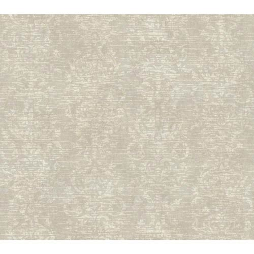 York Wallcoverings Passport Silver, Tan and Cream Wallpaper: Sample Swatch Only